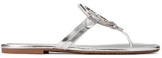 Tory Burch Miller Metal Embellished Metallic Leather Thong Sandals