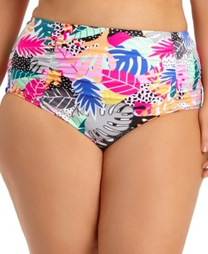 California Waves Trendy Plus Size Printed Ruched High-Waist Bikini Bottoms, Created for Macy's Women's Swimsuit