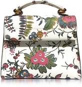Tory Burch Parker Gabriella Floral Print Leather Small Satchel Bag