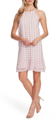 CeCe Gingham Tiered Ruffle Sleeveless A-Line Dress