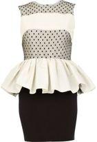 River Island Womens Cream Lola Loves peplum dress