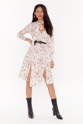 Nasty Gal Womens Calling All Hearts Button-Down Midi Dress - White - 4