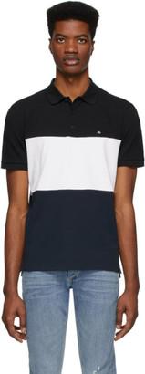 Rag & Bone Black and White Pique Colorblock Polo