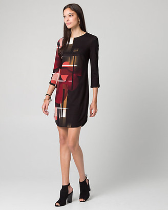 Le Château Geo Print Ponte Crew Neck Tunic Dress