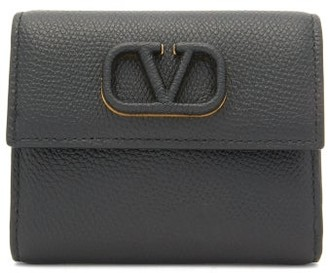 Valentino V-logo Grained-leather Wallet - Womens - Black