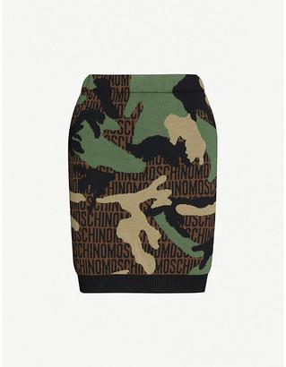 Moschino Branded camo-print high-waisted wool mini skirt