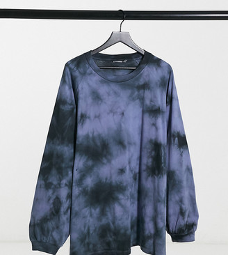 ASOS DESIGN Curve oversized tie-dye T-shirt with long sleeve in blue