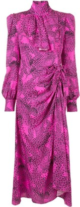 Alessandra Rich Long-Sleeve Ruched Silk Dress