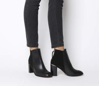 Office Adelle Square Toe Block Heels Black Leather Suede Mix