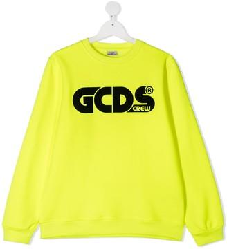 Gcds Kids TEEN logo print rib-trimmed sweatshirt