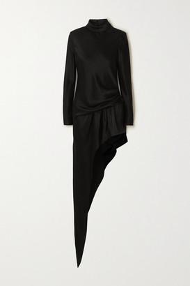 Alexander Wang Asymmetric Gathered Satin Turtleneck Mini Dress - Black