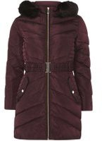 Dorothy Perkins Womens Petite Berry Belted Longline Padded Coat- Red