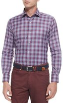 Peter Millar Melange Plaid Long-Sleeve Sport Shirt, Red