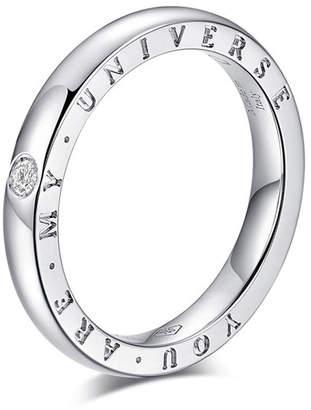 "Milani Alberto Dirce ""You Are My Universe"" 18k White Gold 2.5mm Band Ring w/ Diamond, Size 6"