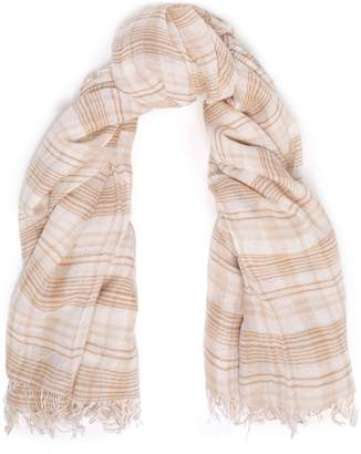 Chan Luu Frayed Checked Cashmere And Silk-blend Gauze Scarf