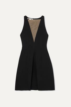 Stella McCartney Net Sustain Tulle-paneled Stretch-crepe Dress - Black