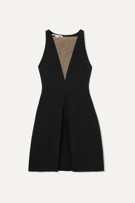 Stella McCartney Net Sustain Tulle-paneled Stretch-crepe Dress - Black