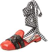 Miu Miu Women's Checkered Leather Mule