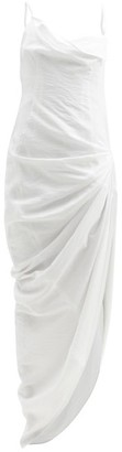 Jacquemus Saudade Draped Open-back Twill Dress - White