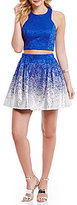 B. Darlin Lace High Neck Foiled-Dipped Hem Two-Piece Dress