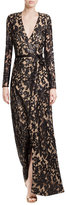Diane von Furstenberg Sequin Embellished Floor-Length Gown with Lace