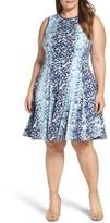 Gabby Skye Plus Size Women's Abstract Print Jersey Fit & Flare Dress