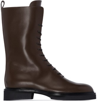 KHAITE The Conley leather ankle boots