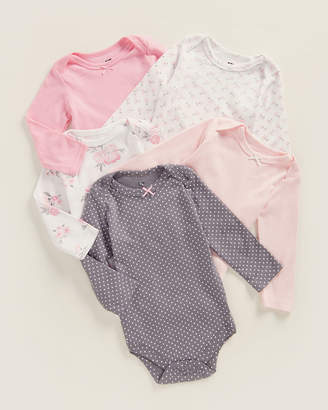 Hudson Baby Newborn Girls) 5-Pack Polka Dot & Floral Bodysuits