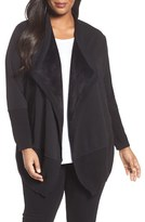 Bobeau Plus Size Women's Cozy Faux Fur Lined Cardigan