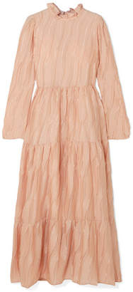 Stine Goya Judy Ruffled Devore-satin Maxi Dress - Blush