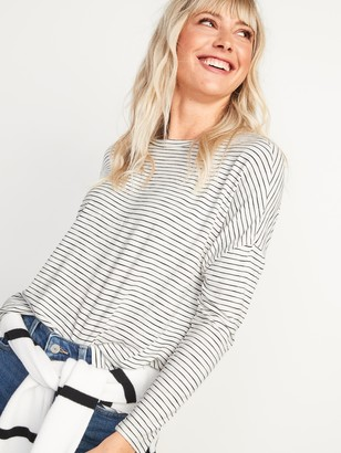Old Navy Luxe Oversized Slub-Knit Long-Sleeve Tee for Women