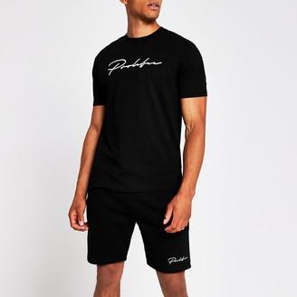 River Island Prolific black short sleeve slim fit T-shirt