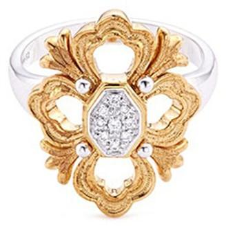 Buccellati 'Opera' diamond 18k white and yellow gold floral ring