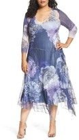 Komarov Plus Size Women's Chiffon Handkerchief Hem Dress