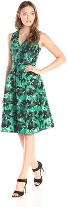 Kasper Women's Sleeveless Printed V Neck Fit and Flare Dress