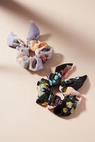 Anthropologie Shimmered Floral Pony Holder Set