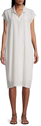 Eileen Fisher Striped Collared Silk Dress