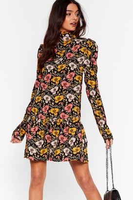 Nasty Gal Womens One Floral High Neck Mini Dress - Black - 8