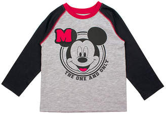 DISNEY MICKEY MOUSE Disney Boys Crew Neck Long Sleeve Mickey Mouse Graphic T-Shirt-Toddler