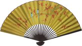 Oriental Furniture Unique Asian Art, Decor and Gifts, 35-Inch Chinese Green Decorative Wall Fan, Birds on Lucky Red Tree No.8
