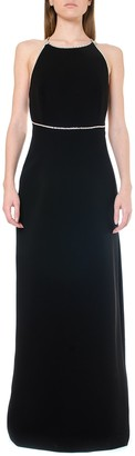Miu Miu Black Crystals Embellishment Long Dress