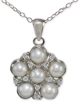 Giani Bernini Freshwater Pearl (5mm) & Cubic Zirconia Cluster Pendant Necklace in Sterling Silver, Created for Macy's