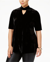 NY Collection Plus Size Velvet Mock-Neck Top
