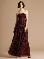 Halston Floral Printed Pleated Gown