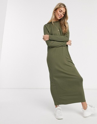 ASOS DESIGN long sleeve maxi t-shirt dress in khaki