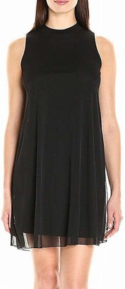 Tiana B T I A N A B. Women's Sleeveless Mock Neck Trapeze Dress with Sheer Overlay