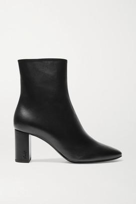 Saint Laurent Lou Leather Ankle Boots - Black