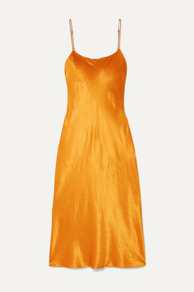 Vince Hammered-satin Midi Dress - Orange