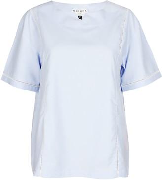 Maraina London Darlene Blue Lace Trim Short Sleeve Blouse