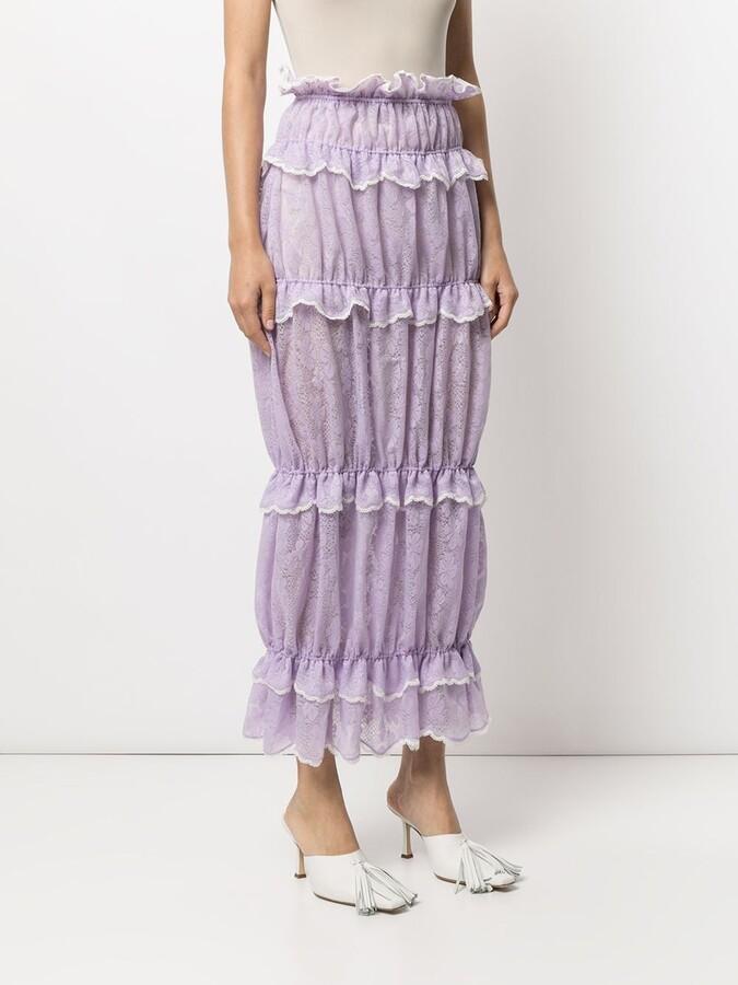 Thumbnail for your product : yuhan wang Ruffled Full-Length Lace Skirt
